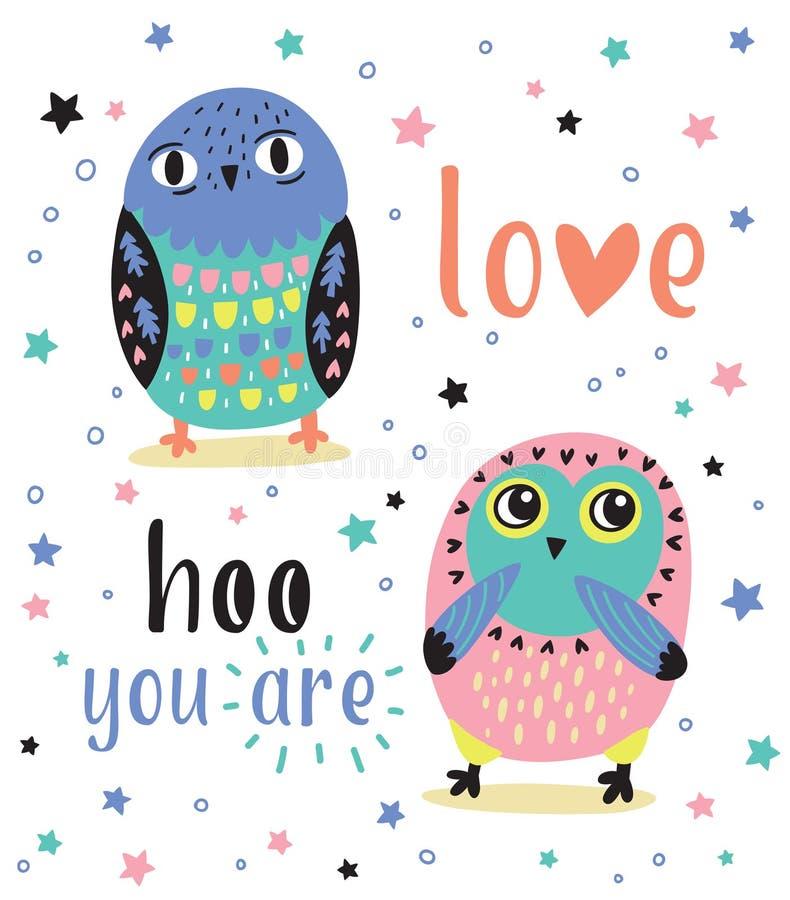 Romantyczna karta z dwa ślicznymi sowami Miłości hoo ty jesteś royalty ilustracja