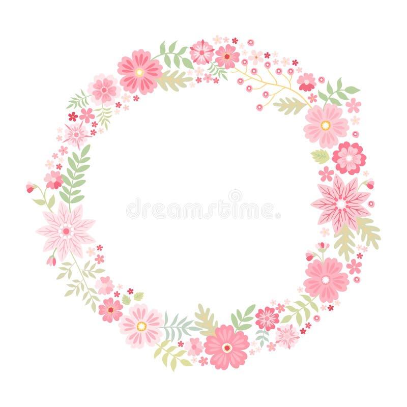 Romantyczna kwiecista round rama z ślicznymi różowymi kwiatami Piękny wianek odizolowywający na białym tle rabatowy bobek opuszcz ilustracji