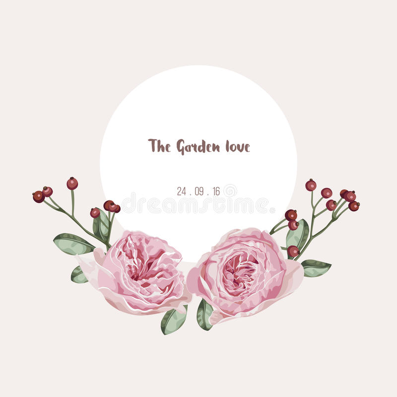 Romantyczna kwiecista zaproszenie karta, kwiatu wzór i okrąg etykietka, ilustracji