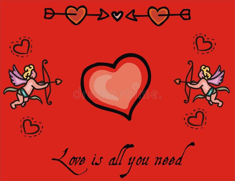 romantyczna miłość serca tło royalty ilustracja