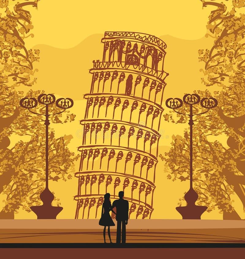 Romantyczna para turyści w Pisa royalty ilustracja