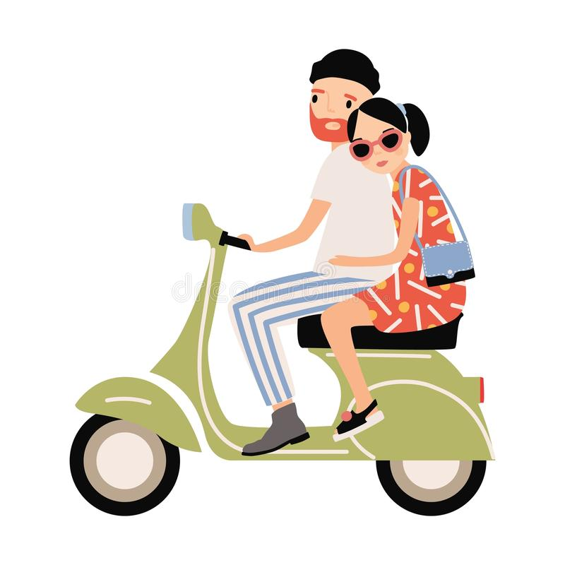 Romantyczna para ubierał w modnej odzieżowej jeździeckiej hulajnoga Młody elegancki mężczyzna i kobiety obsiadanie na nowożytnym  ilustracji