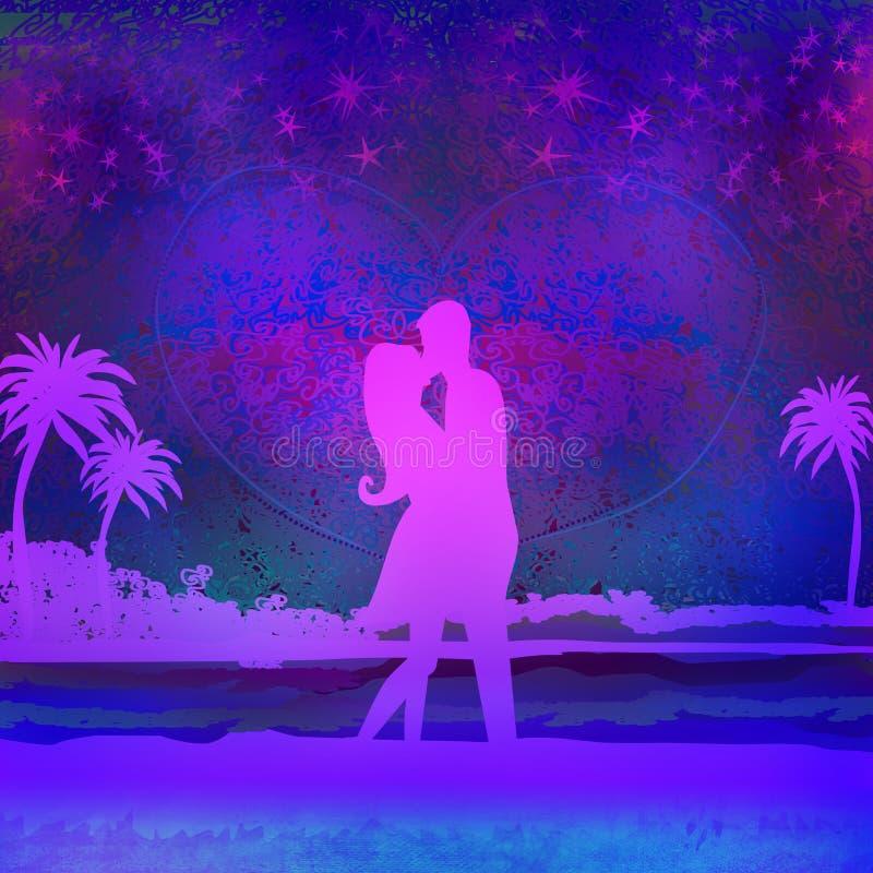 Romantyczna para wokoło całować na plaży royalty ilustracja