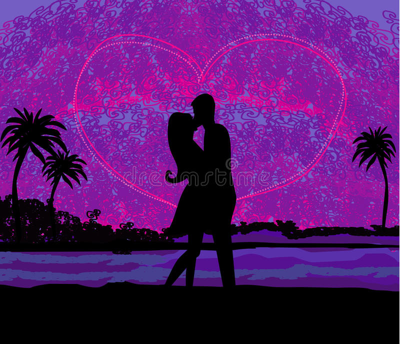 Romantyczna para wokoło całować na plaży przy zmierzchem royalty ilustracja