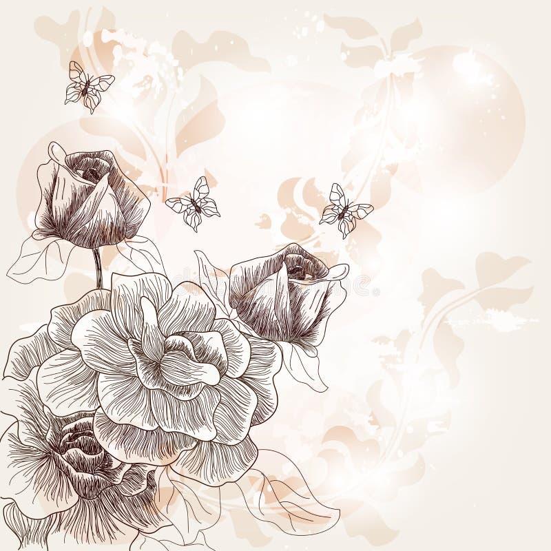 Romantyczna ręka rysująca pocztówka royalty ilustracja