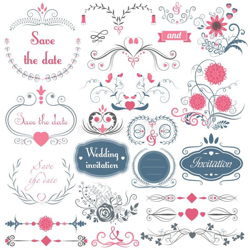 Romantyczna ręka rysujący wektorowy ślubny graficzny ustawiający ramy, strzała, kwiaty, bobek, wianki, faborki i etykietki, ilustracji