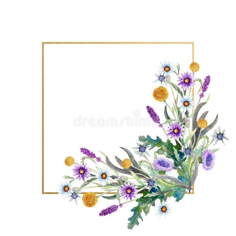Romantyczna rama Wildflowers w akwareli ?lubny poj?cie z kwiatami Kwiecisty plakat, zaproszenie Akwareli przygotowania dla ilustracji