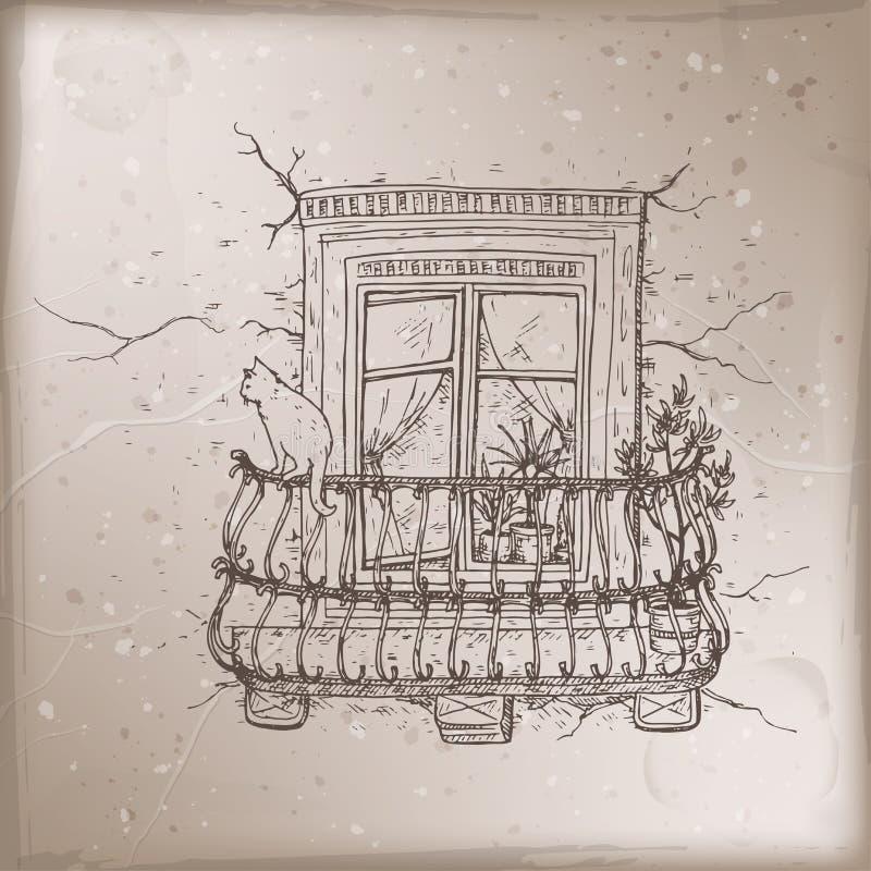 Romantyczna rocznik karta z starym balkonem i kot kreślimy ilustracja wektor