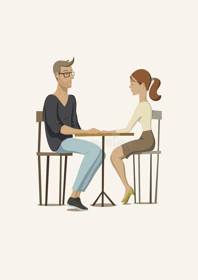 Romantyczna scena z parą w miłości Młody człowiek i kobieta przy stołem również zwrócić corel ilustracji wektora ilustracja wektor