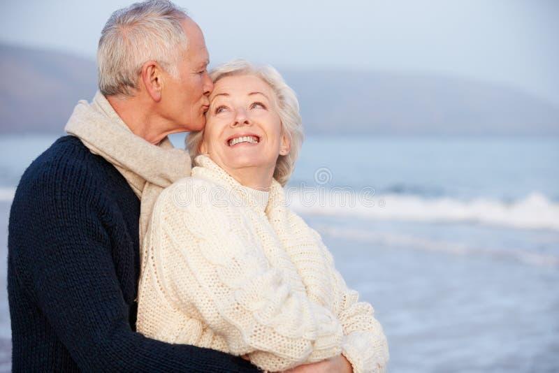 Romantyczna Starsza para Na zimy plaży zdjęcie royalty free