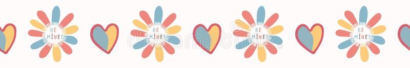 Romantyczna tęcza kocham ciebie stokrotka kwiat Ręka Rysująca Bezszwowa wektor granica ilustracja wektor