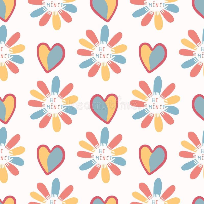 Romantyczna tęcza kocham ciebie stokrotka kwiat Ręka rysujący bezszwowy wektoru wzór ilustracja wektor