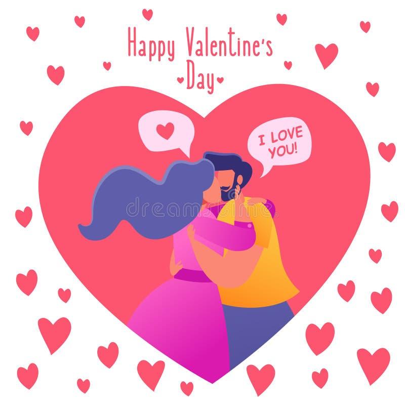 Romantyczna wektorowa ilustracja na historia miłosna temacie Dobiera się w miłości, obejmują i całują Przyznaje each inny w miłoś ilustracji
