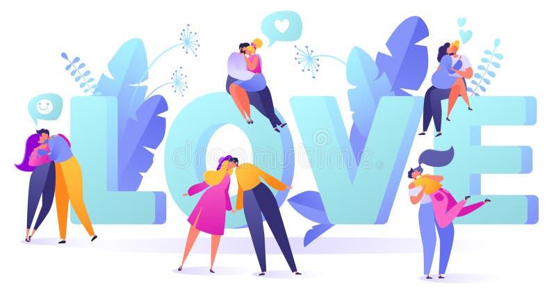Romantyczna wektorowa ilustracja na historia miłosna temacie Szczęśliwi płascy ludzie charakterów ilustracja wektor
