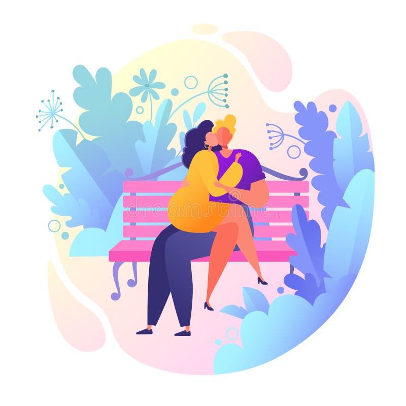 Romantyczna wektorowa ilustracja na historia miłosna temacie Szczęśliwi płascy ludzie charakteru obsiadania na ławce, uścisku i b ilustracji