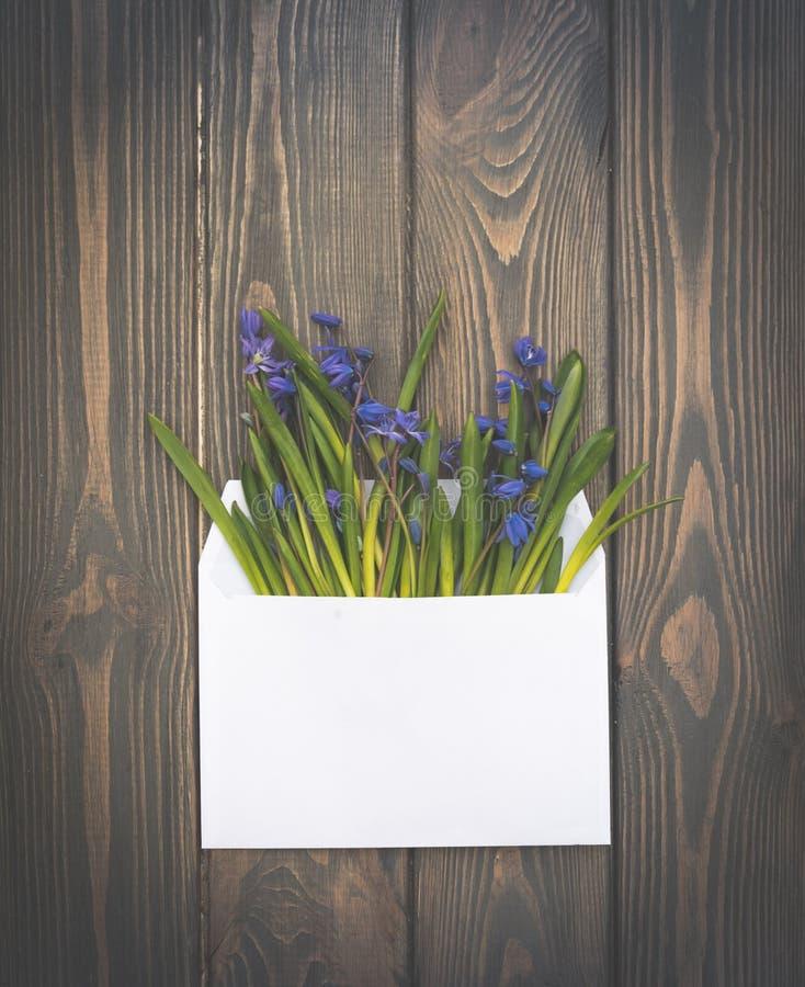Romantyczna wiosny zaproszenia karta Biali wildflowers i koperta obrazy royalty free