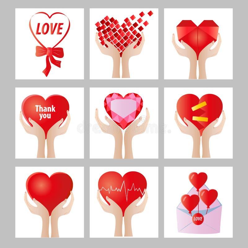 romantyczne karty z sercami royalty ilustracja