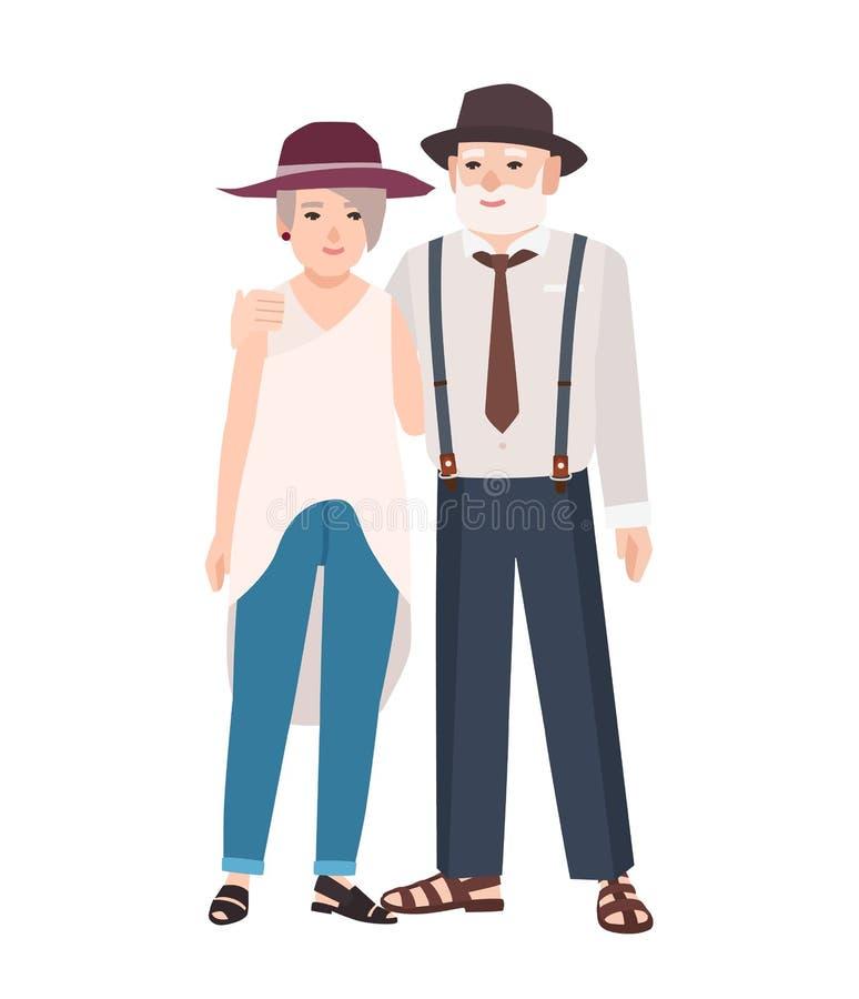 romantyczne par starsze osoby Para stary śliczny mężczyzna i kobieta jest ubranym kapelusze stoi wpólnie i obejmuje Babcia i royalty ilustracja