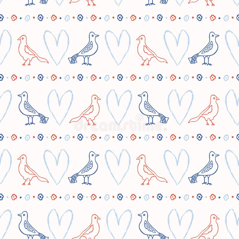 Romantycznego Lovebirds Brushstroke wektoru Kierowy Bezszwowy wzór Ręka Rysujący kochankowie ilustracji