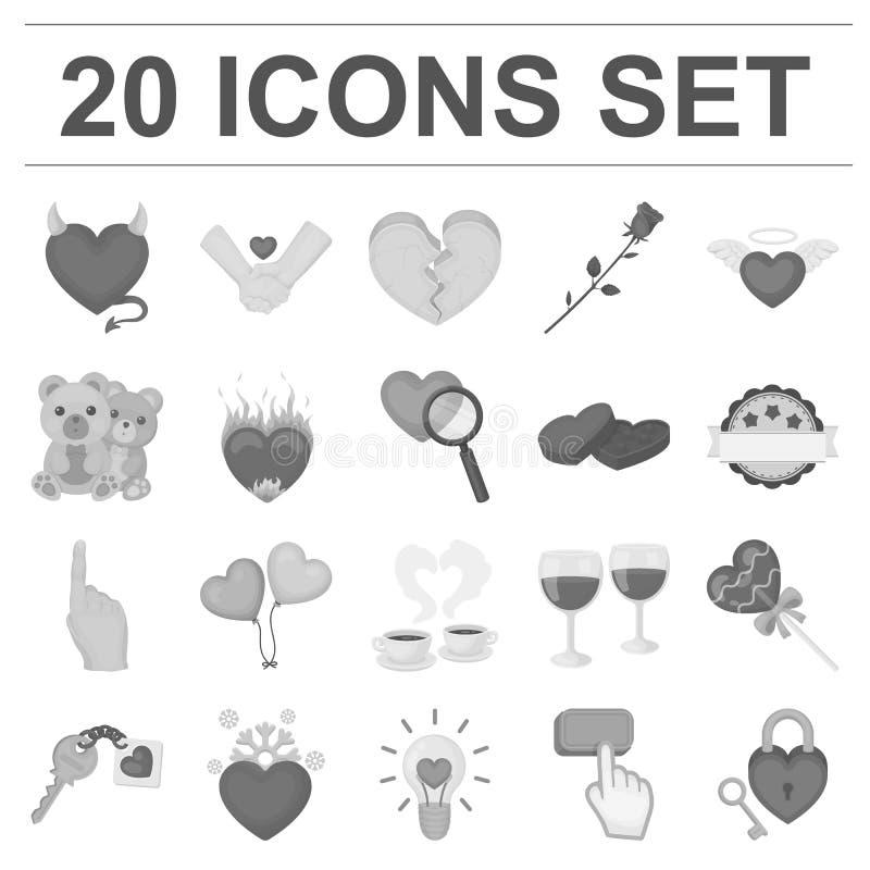 Romantycznego związku monochromatyczne ikony w ustalonej kolekci dla projekta Miłości i przyjaźni symbolu zapasu wektorowa sieć ilustracji