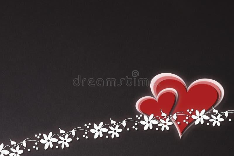 Romantycznej ilustraci karty kwiecisty czarny tło royalty ilustracja
