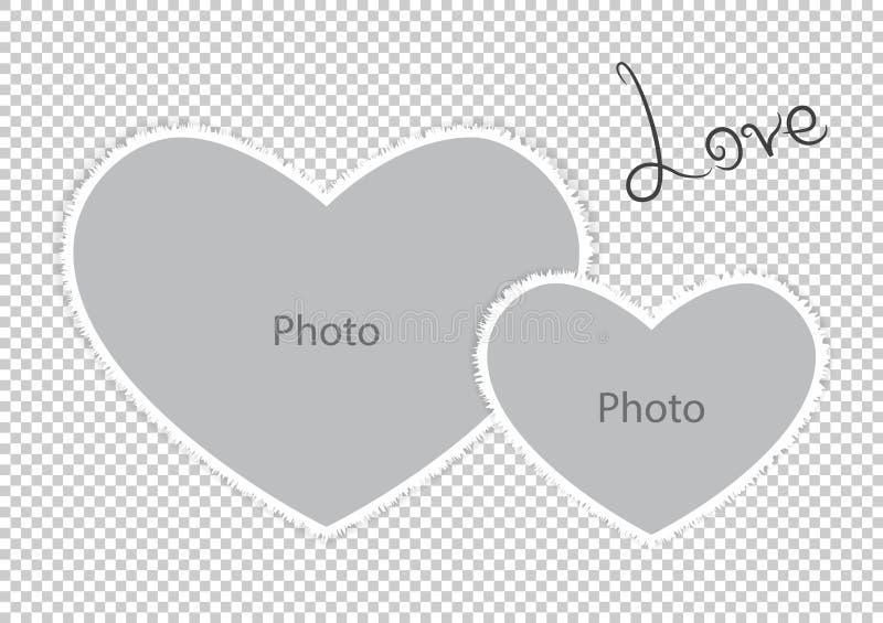 Romantyczni fotografii ramy formy serca St walentynek dzień ilustracji