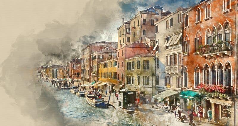 Romantyczni kanały w mieście Wenecja ilustracji
