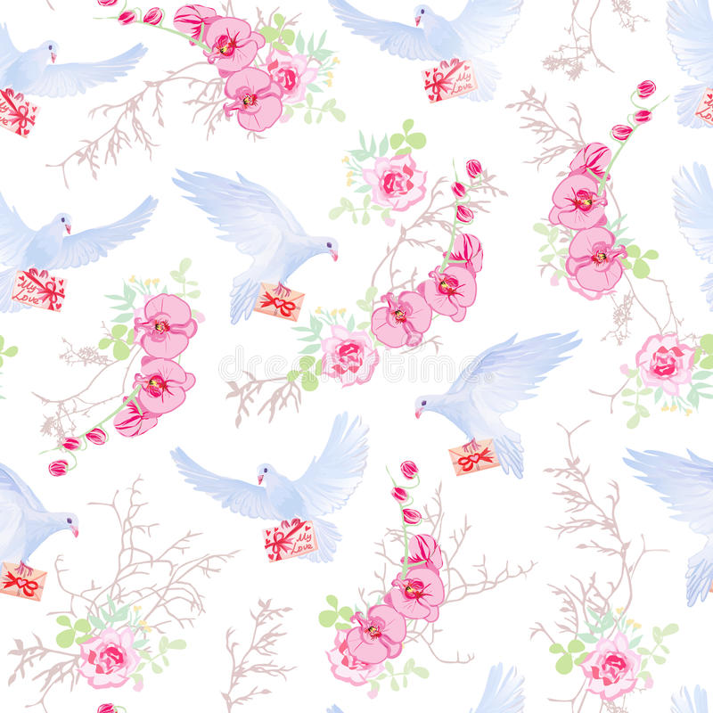 Romantyczni listy, kwiatów bukiety i gołębia bezszwowy wektorowy druk, ilustracji
