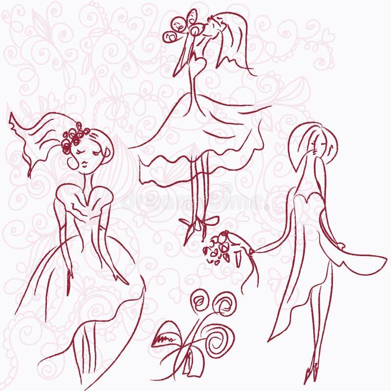 romantyczni pann młodych nakreślenia royalty ilustracja