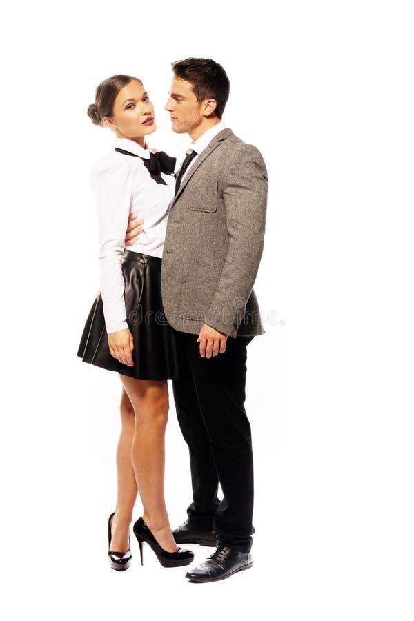 Romantyczni partnery w moda ubioru Bardzo zakończeniu zdjęcia stock