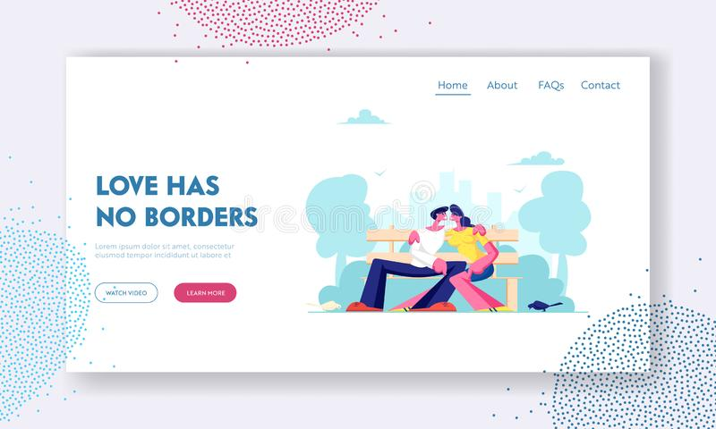 Romantyczni powiązania, miłości strony internetowej lądowania strona, Młody Kochający pary przytulenie na ławce w miasto parku La ilustracji