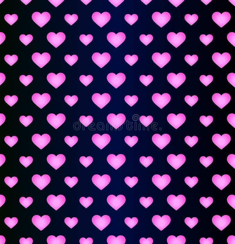 Romantyczni serca pocztówkowa deklaracja miłość - neonowy wzór - ilustracja wektor