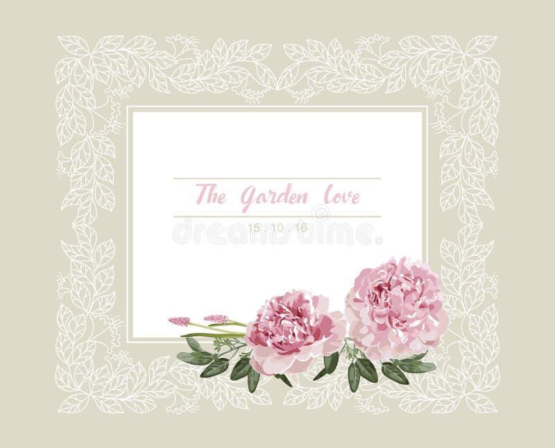 Romantyczny ślubny zaproszenie Rocznik karta z kwiatami i kwiecistą białą kontur ramą menchii i koloru żółtego royalty ilustracja