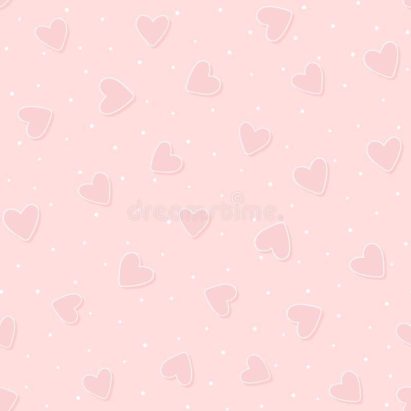 Romantyczny bezszwowy wzór z ślicznymi sercami i polki kropką ilustracja wektor