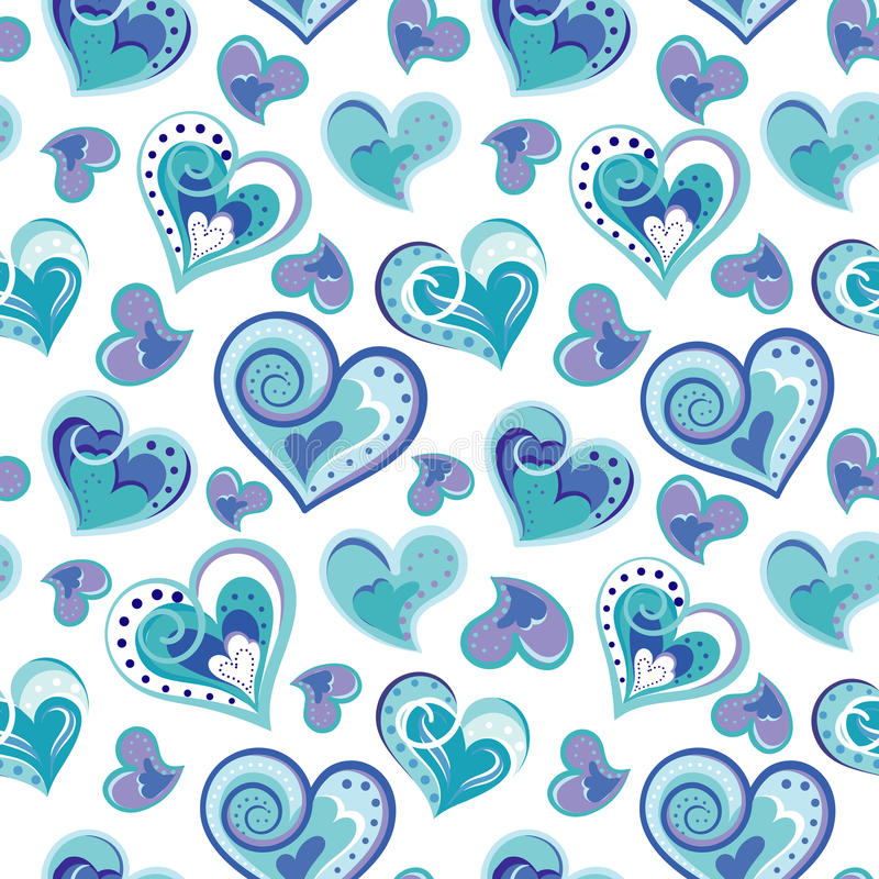 Romantyczny bezszwowy wzór z kolorowymi ręka remisu sercami Błękitni serca na białym tle również zwrócić corel ilustracji wektora ilustracja wektor