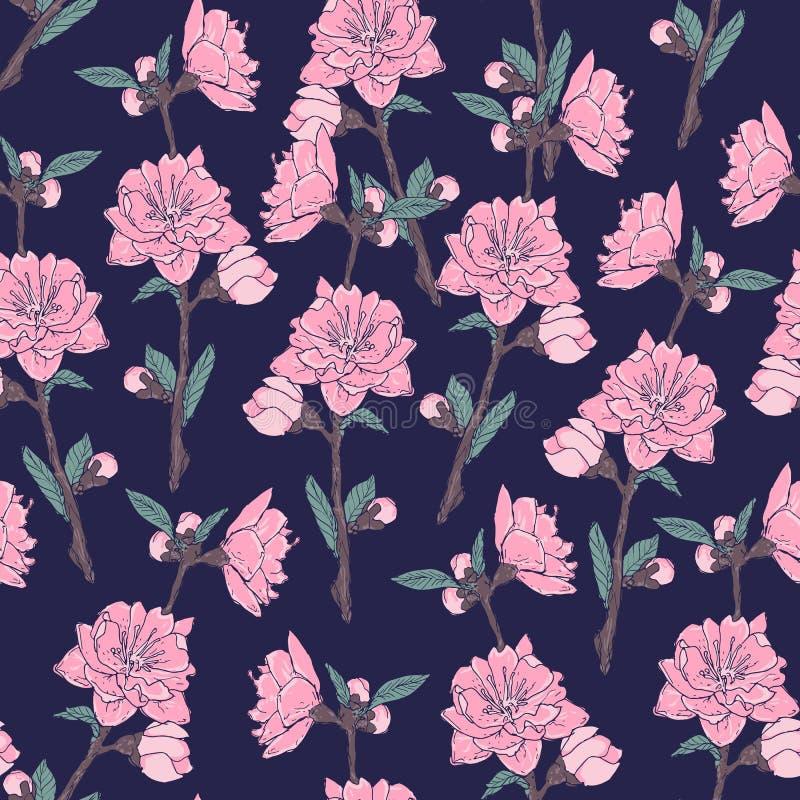 Romantyczny bezszwowy wzór z wspaniałym kwitnienie ogródem kwitnie na ciemnym tle Naturalny realistyczny wektor ilustracja wektor