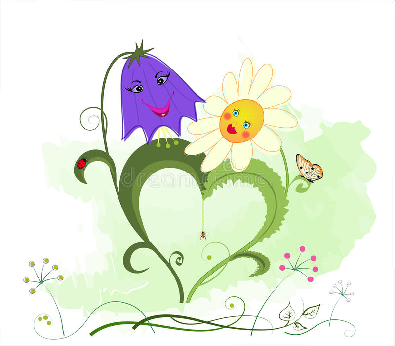 romantyczny bluebell rumianek royalty ilustracja