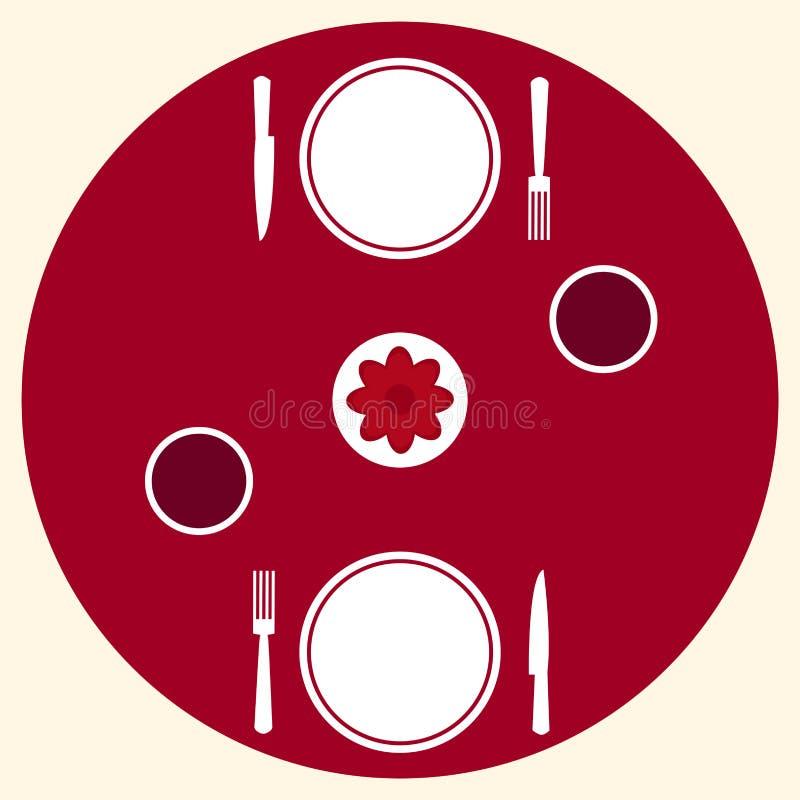 Romantyczny gość restauracji dla dwa stołowej porci royalty ilustracja