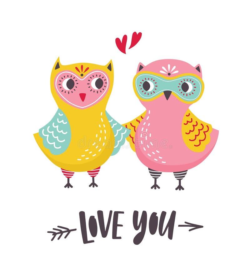 Romantyczny kartki z pozdrowieniami lub pocztówki szablon z parą śliczne sowy i Kocha Ciebie wpisowy ręcznie pisany z kursywnym ilustracja wektor