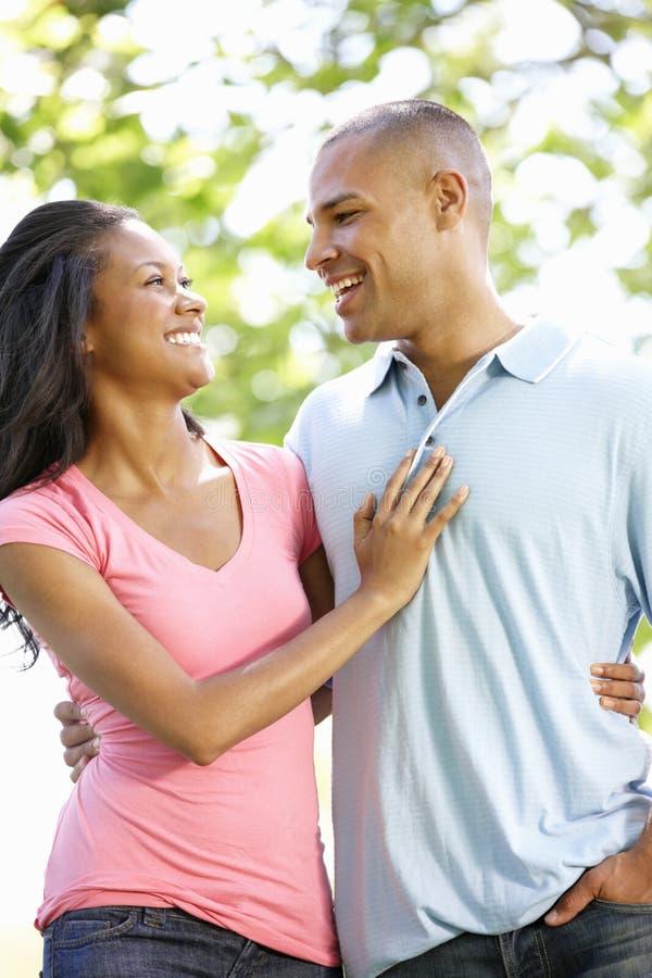 Romantyczny Młody amerykanin afrykańskiego pochodzenia pary odprowadzenie W parku fotografia stock