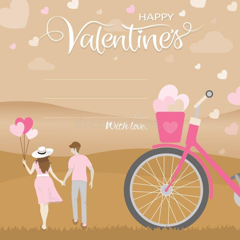 Romantyczny moment szczęście pary chwyta ręka z natura krajobrazem, Szczęśliwy valentines dnia pojęcie royalty ilustracja