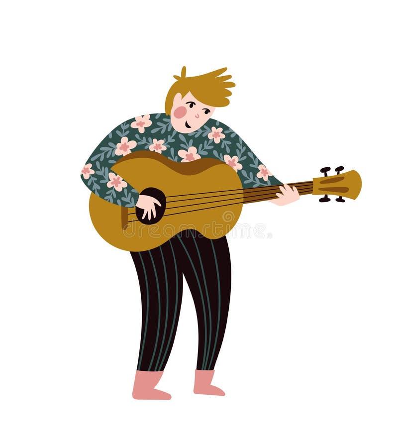 Romantyczny piosenkarz z gitarą Wektorowa ilustracja dla festiwalu muzykiego Jaskrawy plakatowy projekt Ludowy i etniczny muzyk royalty ilustracja