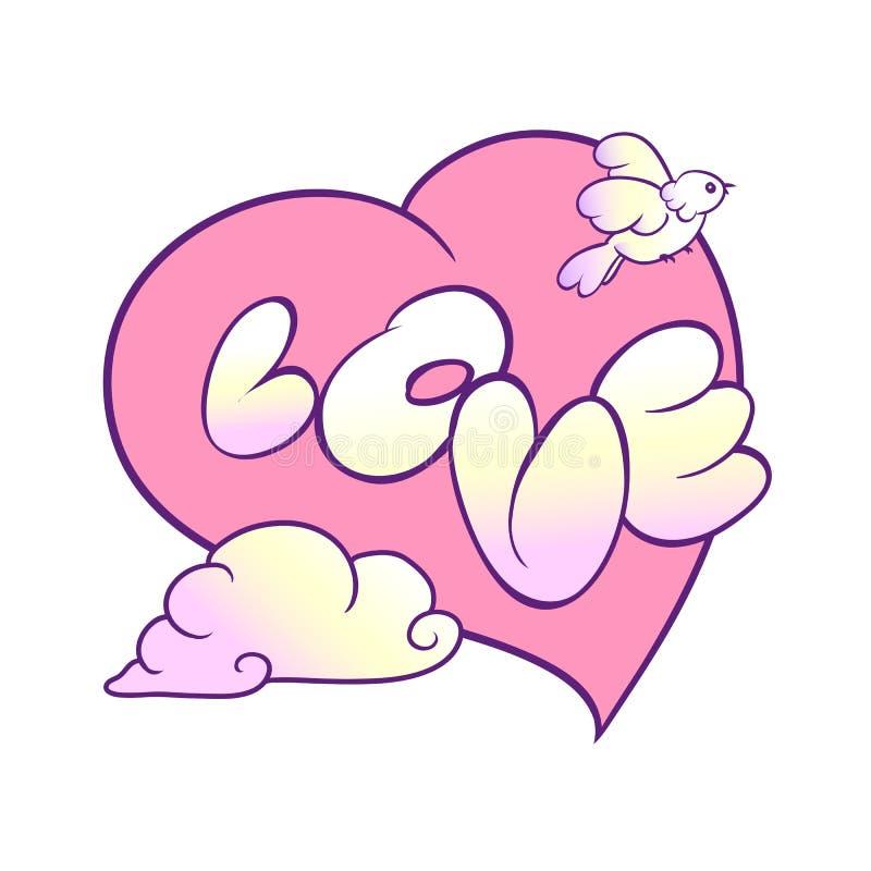 Romantyczny pocztówkowy wyznanie miłość Duży różowy serce, latający ptak chmura i słowo, royalty ilustracja
