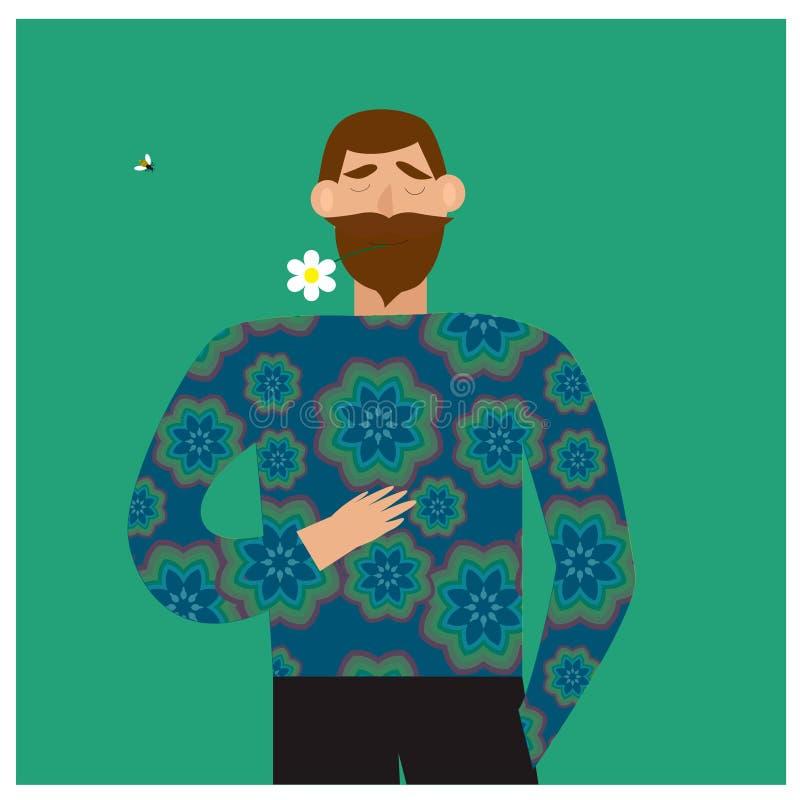 Romantyczny pojęcie Brodaty mężczyzna trzyma kwiatu w jego usta royalty ilustracja