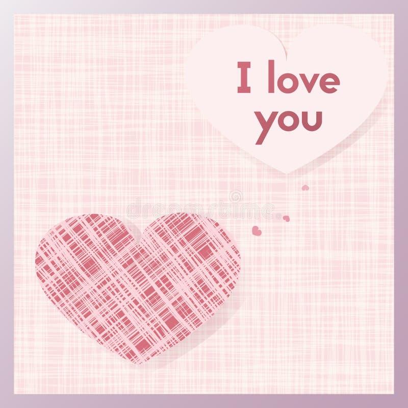 Romantyczny prezenta kartka z pozdrowieniami dla kochanków Pocztówka w pastelowych menchii kolorach Kart tkaniny w formie serca ilustracja wektor