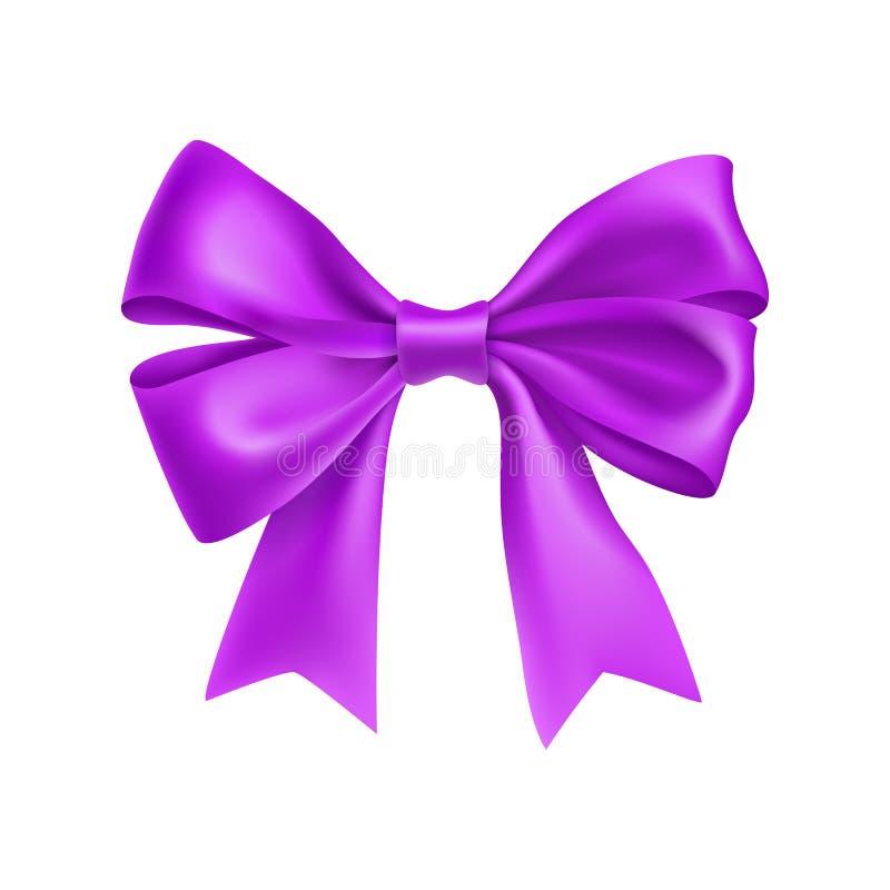 Romantyczny purpurowy tasiemkowy łęk odizolowywający na bielu ilustracji