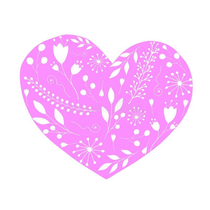 Romantyczny różowy serce z sylwetkami kwiaty i sprigs r?wnie? zwr?ci? corel ilustracji wektora ilustracja wektor