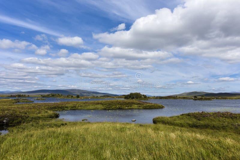 Romantyczny Rannoch Mor, średniogórza, Szkocja, Zjednoczone Królestwo zdjęcie stock