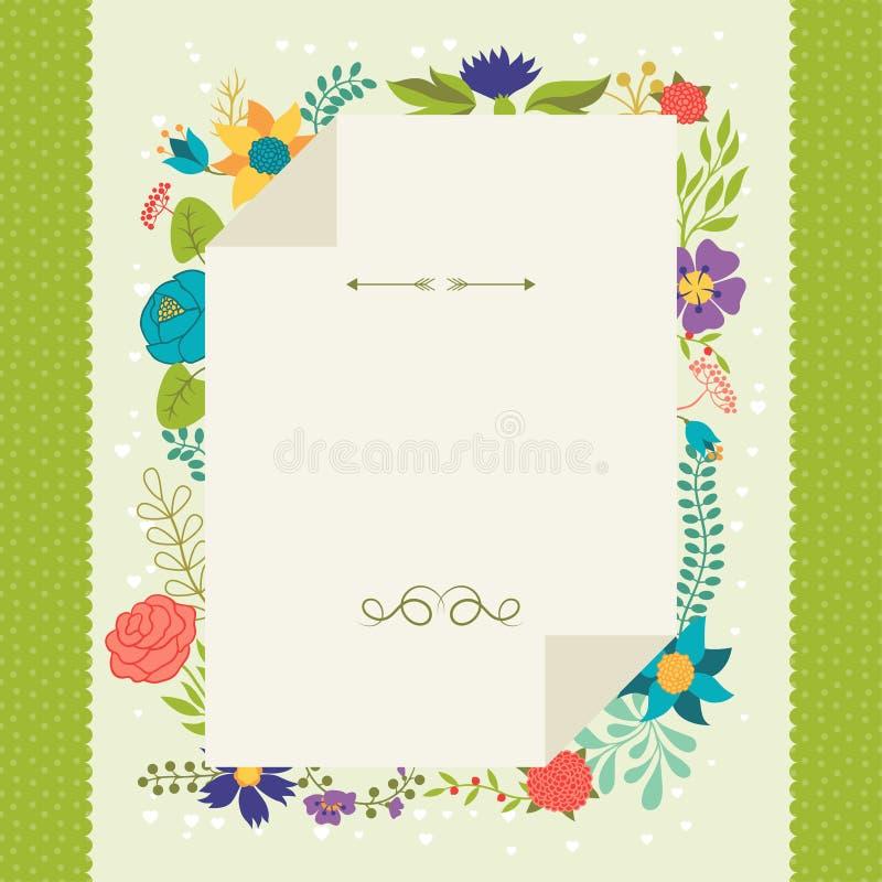 Romantyczny tło różnorodni kwiaty w retro ilustracja wektor