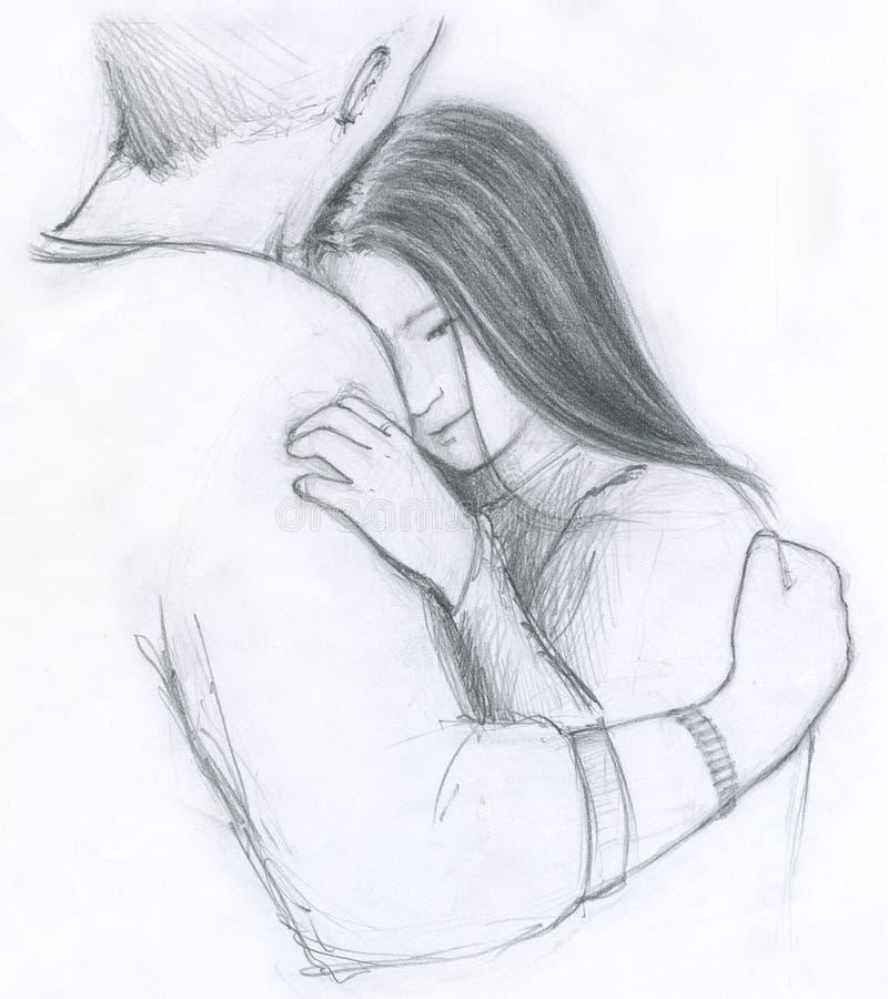 romantyczny uścisku royalty ilustracja